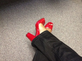 Nichole's Red Patent Leather Peep Toe Pumps